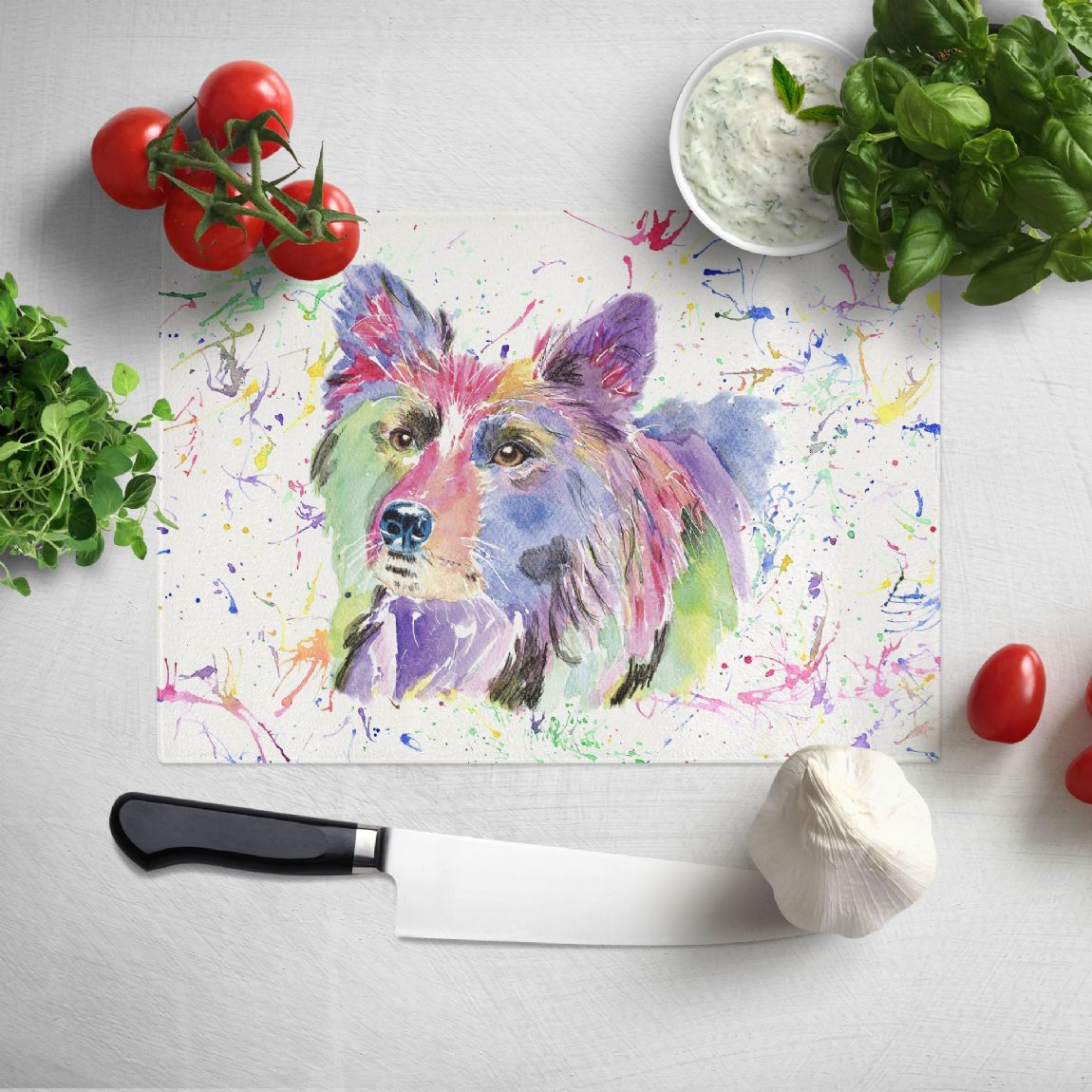 Glass worktop saver/chopping board (Collie)